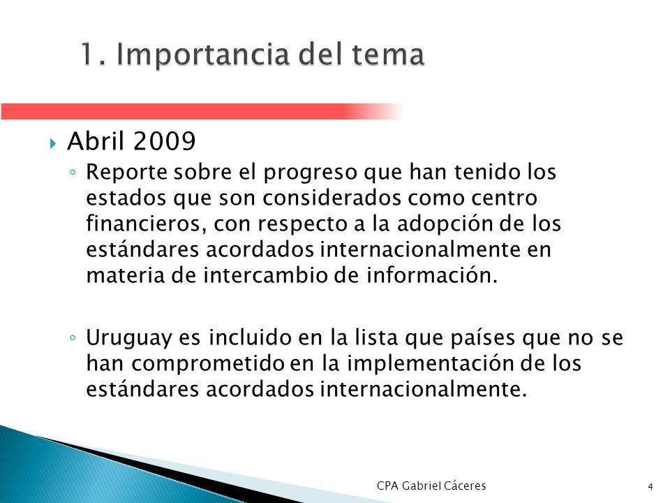 1. Importancia del tema Abril 2009