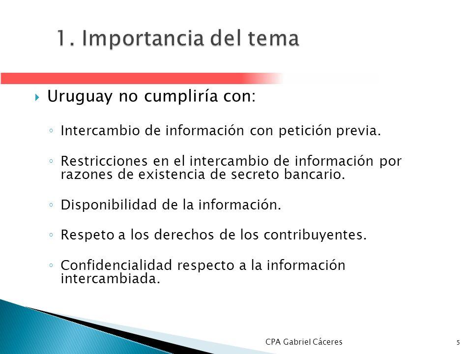 1. Importancia del tema Uruguay no cumpliría con: