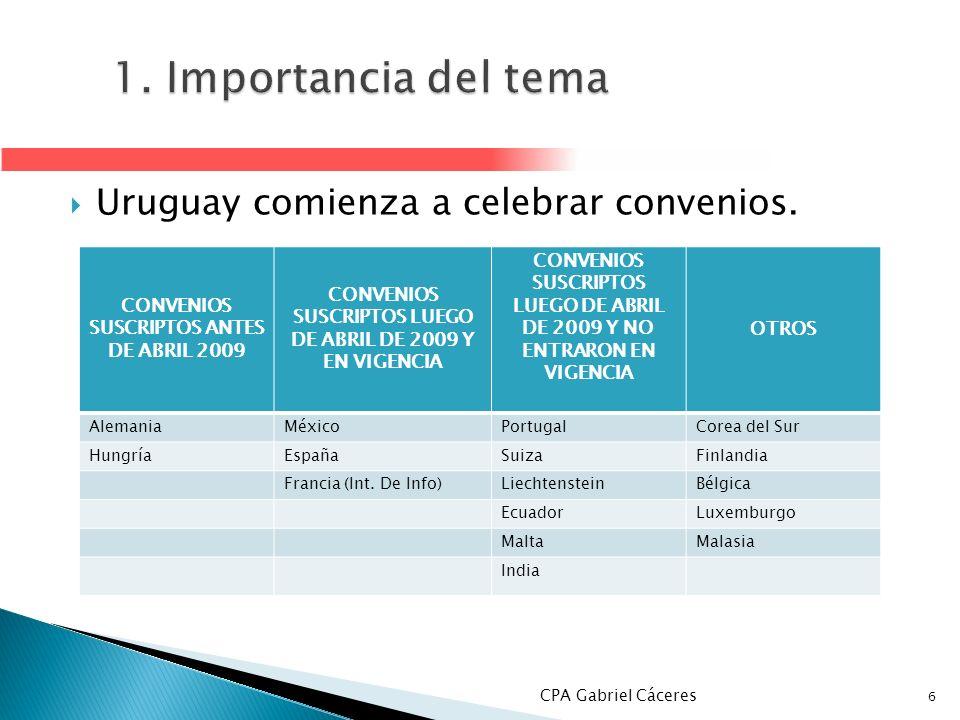 1. Importancia del tema Uruguay comienza a celebrar convenios.