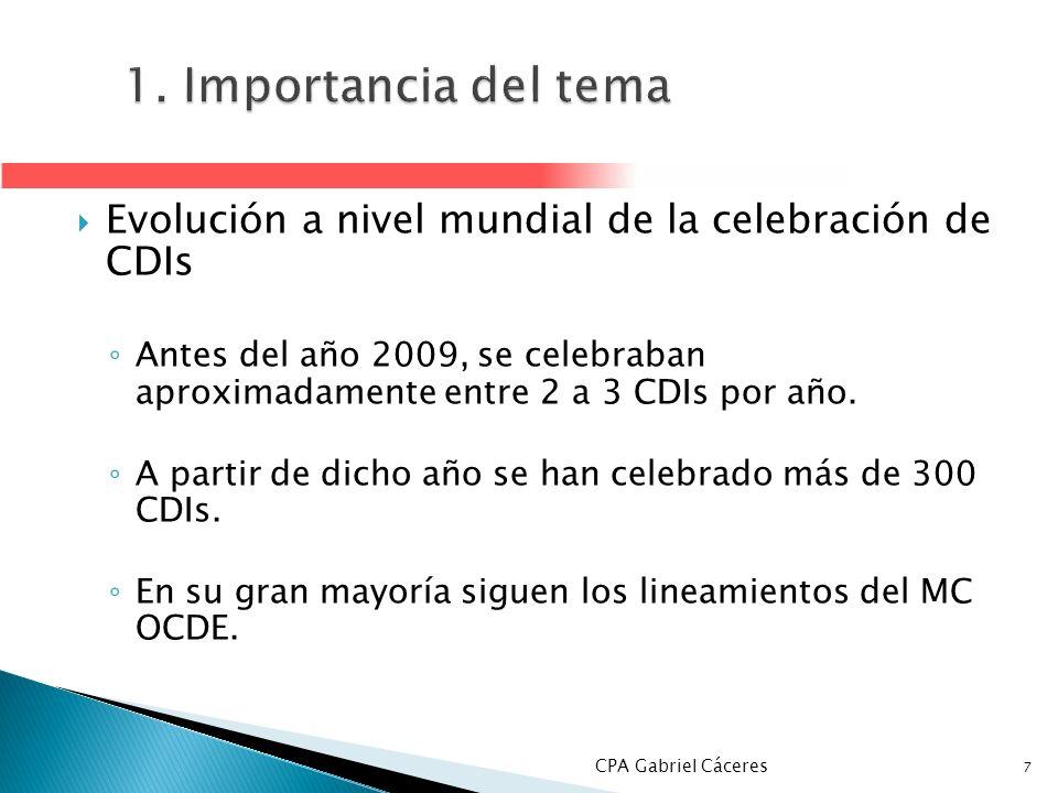 1. Importancia del temaEvolución a nivel mundial de la celebración de CDIs.