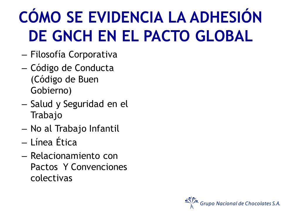 CÓMO SE EVIDENCIA LA ADHESIÓN DE GNCH EN EL PACTO GLOBAL