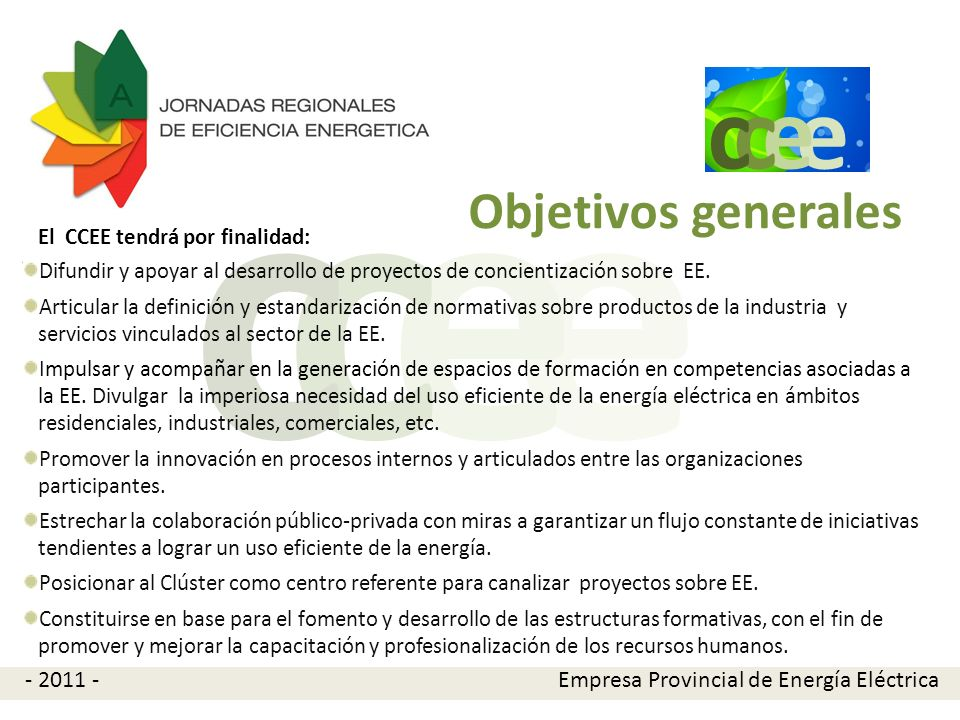 e c Objetivos generales - 2011 -