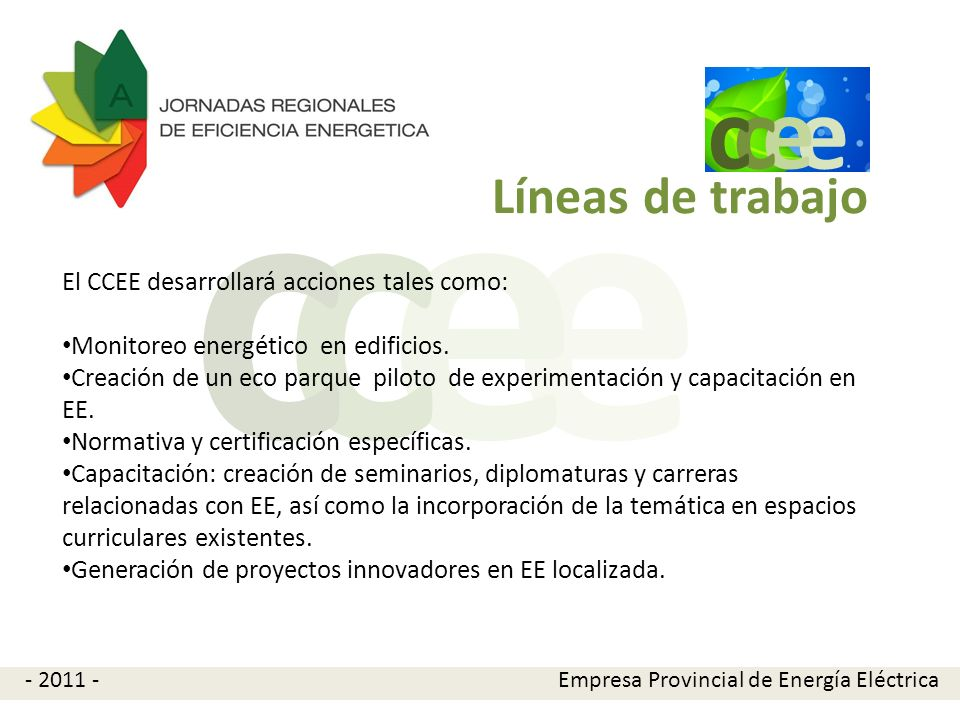 e c Líneas de trabajo El CCEE desarrollará acciones tales como:
