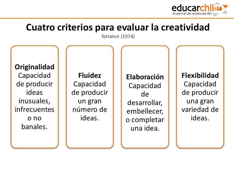 Cuatro criterios para evaluar la creatividad Torrance (1974)