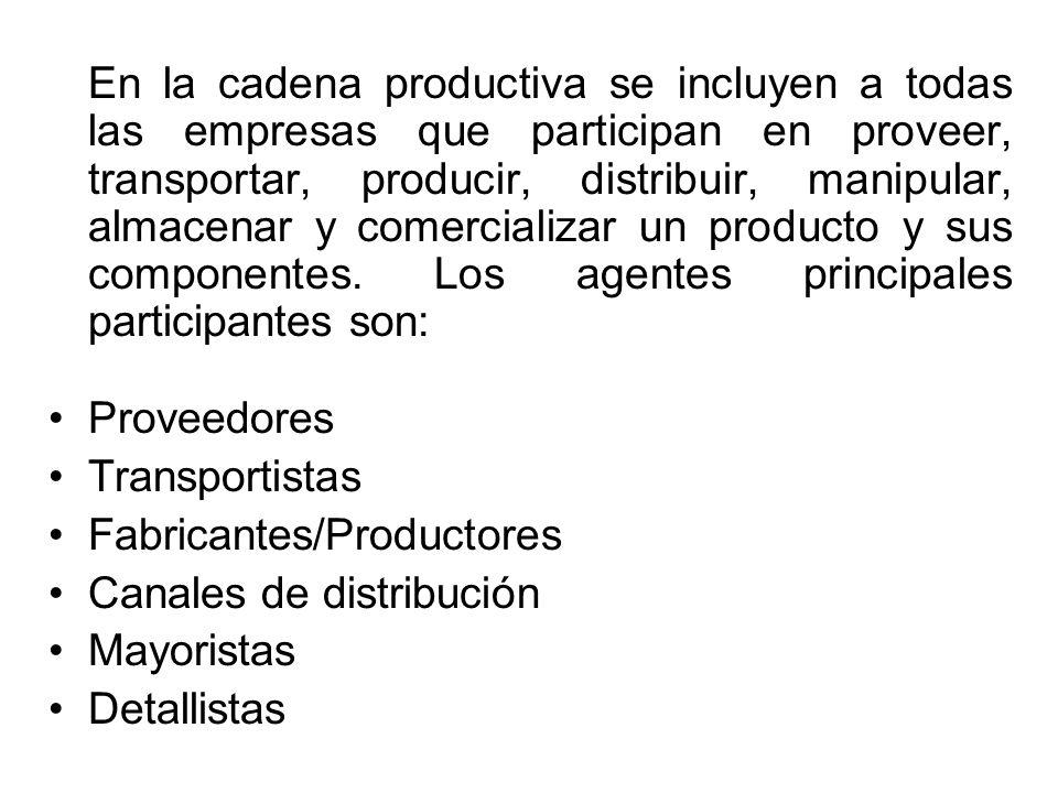 En la cadena productiva se incluyen a todas las empresas que participan en proveer, transportar, producir, distribuir, manipular, almacenar y comercializar un producto y sus componentes. Los agentes principales participantes son: