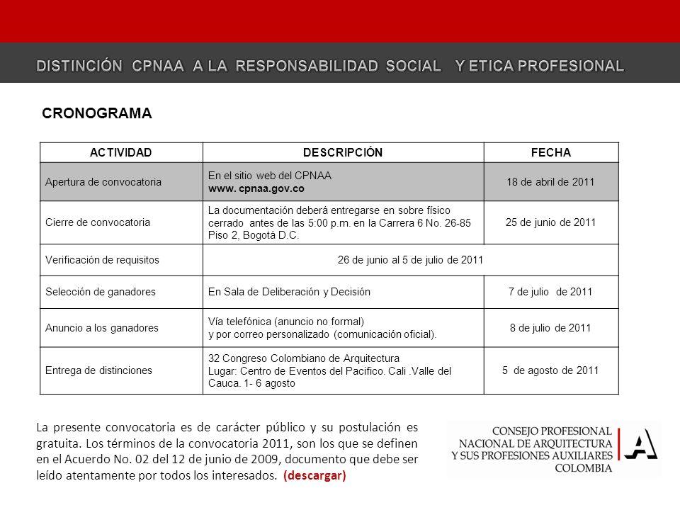 DISTINCIÓN CPNAA A LA RESPONSABILIDAD SOCIAL Y ETICA PROFESIONAL