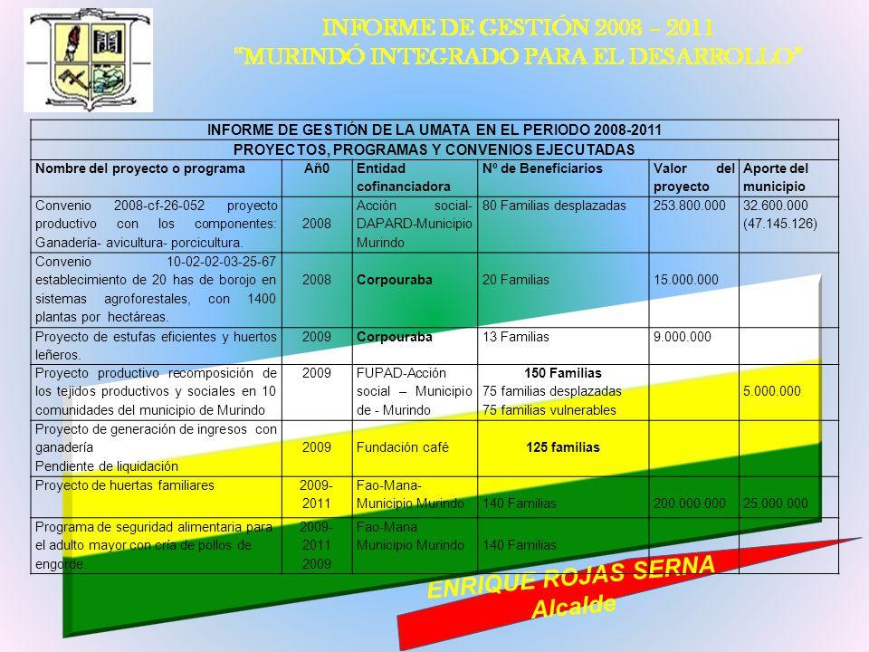 INFORME DE GESTIÓN DE LA UMATA EN EL PERIODO 2008-2011