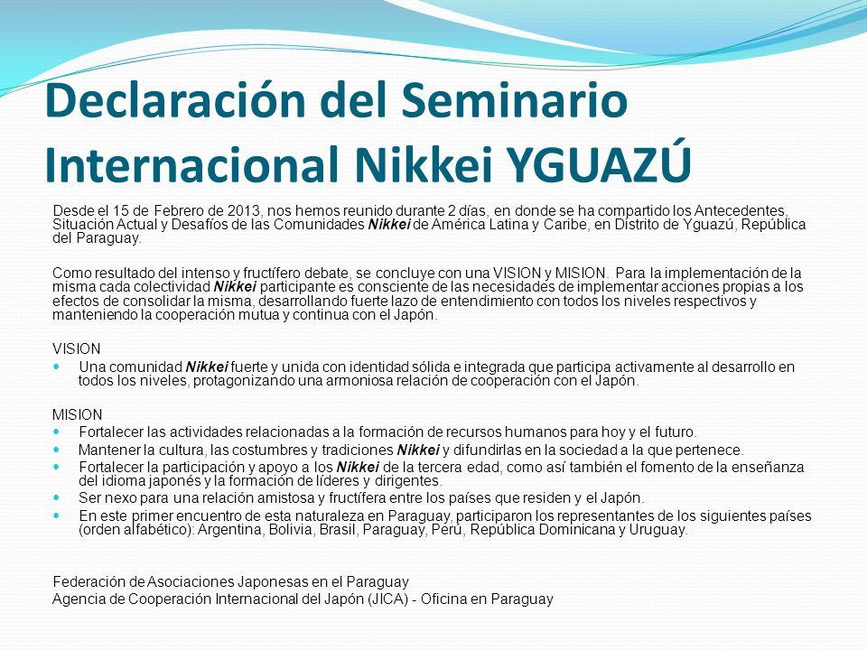 Declaración del Seminario Internacional Nikkei YGUAZÚ