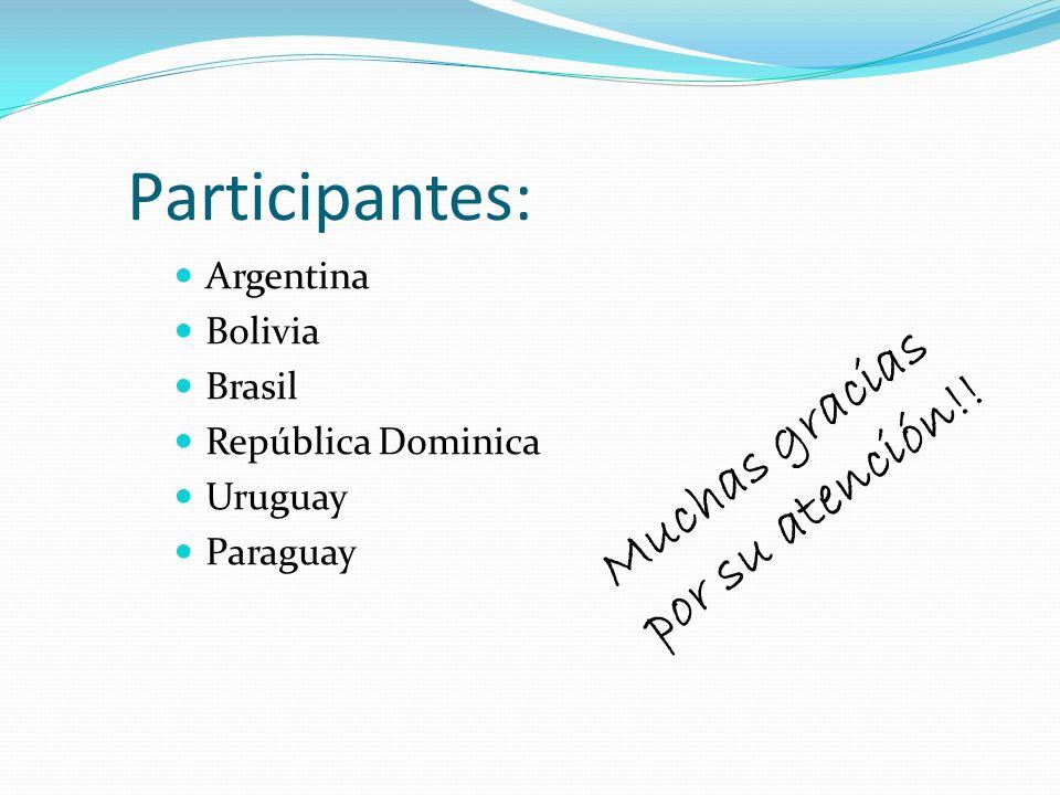Participantes: Muchas gracias por su atención!! Argentina Bolivia