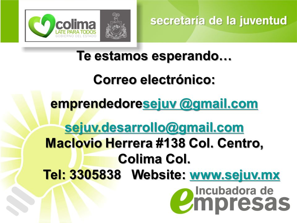emprendedoresejuv @gmail.com sejuv.desarrollo@gmail.com