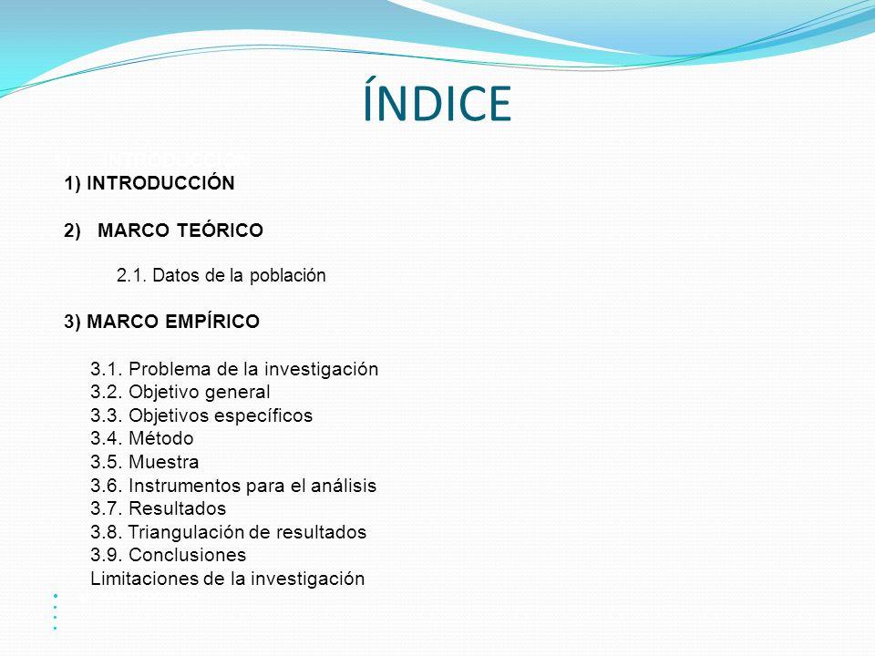 ÍNDICE 1) INTRODUCCIÓN 1) INTRODUCCIÓN 2) MARCO TEÓRICO