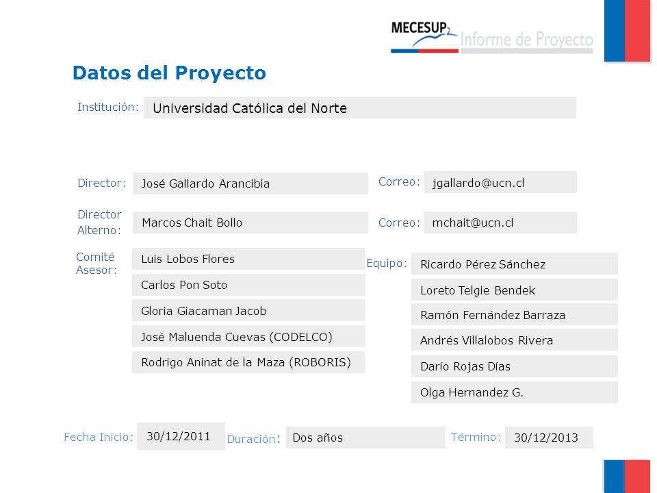 Datos del Proyecto Universidad Católica del Norte Institución:
