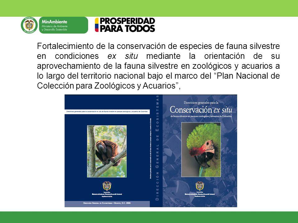 Fortalecimiento de la conservación de especies de fauna silvestre en condiciones ex situ mediante la orientación de su aprovechamiento de la fauna silvestre en zoológicos y acuarios a lo largo del territorio nacional bajo el marco del Plan Nacional de Colección para Zoológicos y Acuarios ,