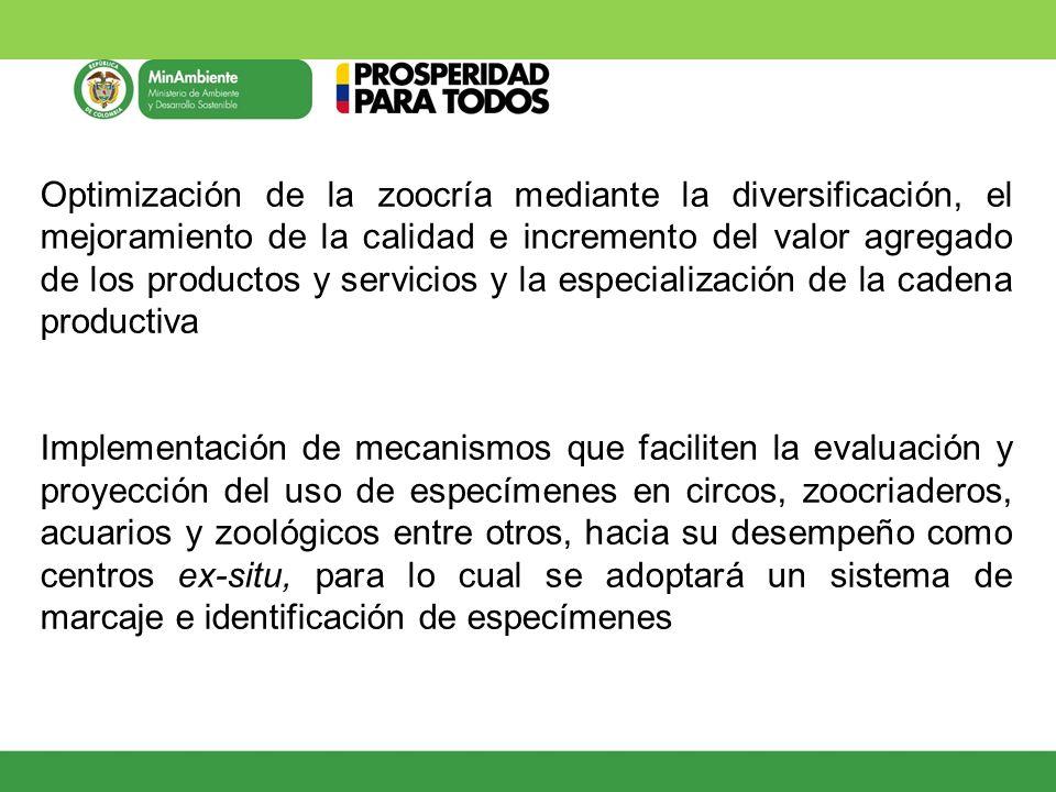 Optimización de la zoocría mediante la diversificación, el mejoramiento de la calidad e incremento del valor agregado de los productos y servicios y la especialización de la cadena productiva