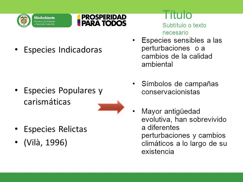 Especies Populares y carismáticas