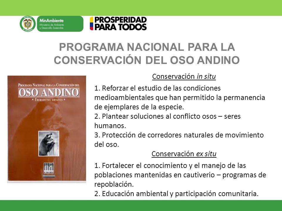 PROGRAMA NACIONAL PARA LA CONSERVACIÓN DEL OSO ANDINO