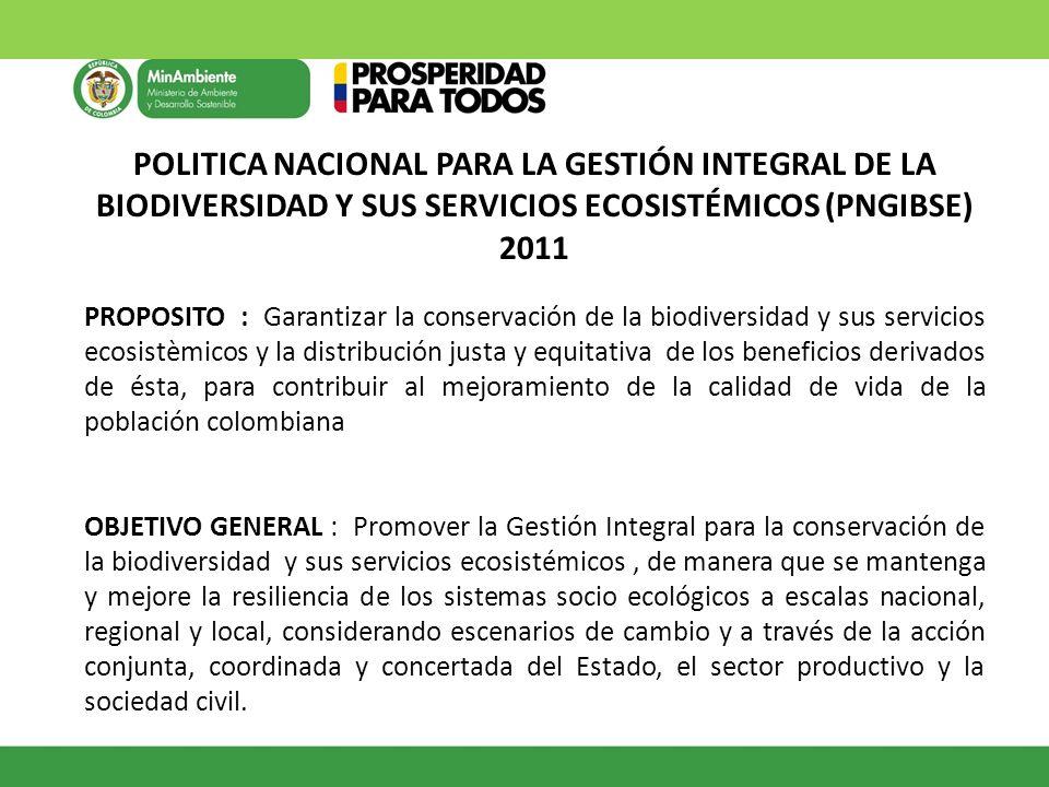 POLITICA NACIONAL PARA LA GESTIÓN INTEGRAL DE LA BIODIVERSIDAD Y SUS SERVICIOS ECOSISTÉMICOS (PNGIBSE) 2011