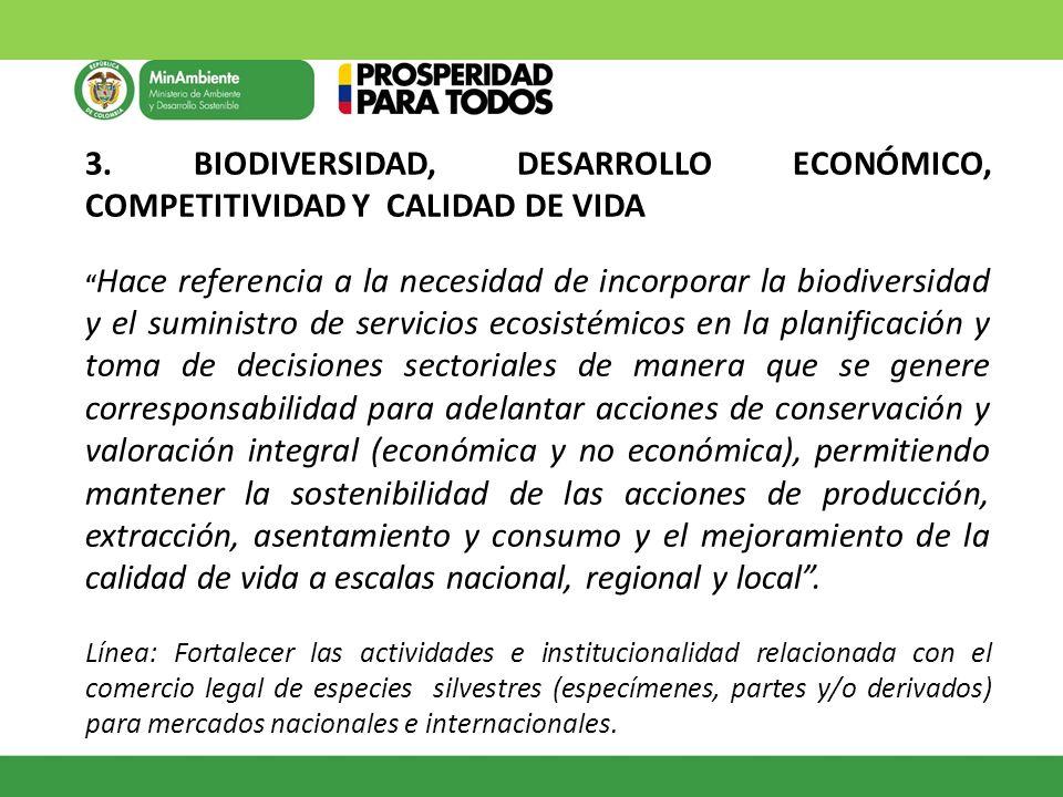 3. BIODIVERSIDAD, DESARROLLO ECONÓMICO, COMPETITIVIDAD Y CALIDAD DE VIDA