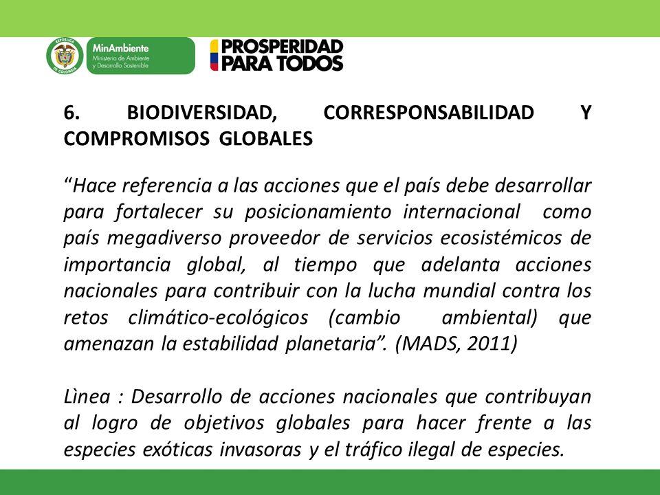 6. BIODIVERSIDAD, CORRESPONSABILIDAD Y COMPROMISOS GLOBALES