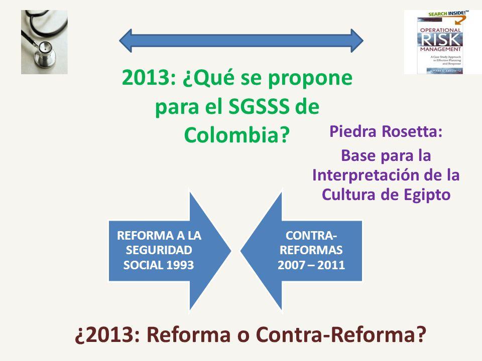 2013: ¿Qué se propone para el SGSSS de Colombia