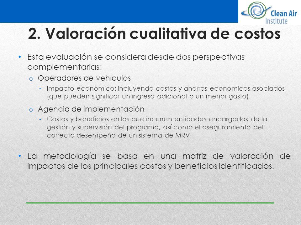 2. Valoración cualitativa de costos