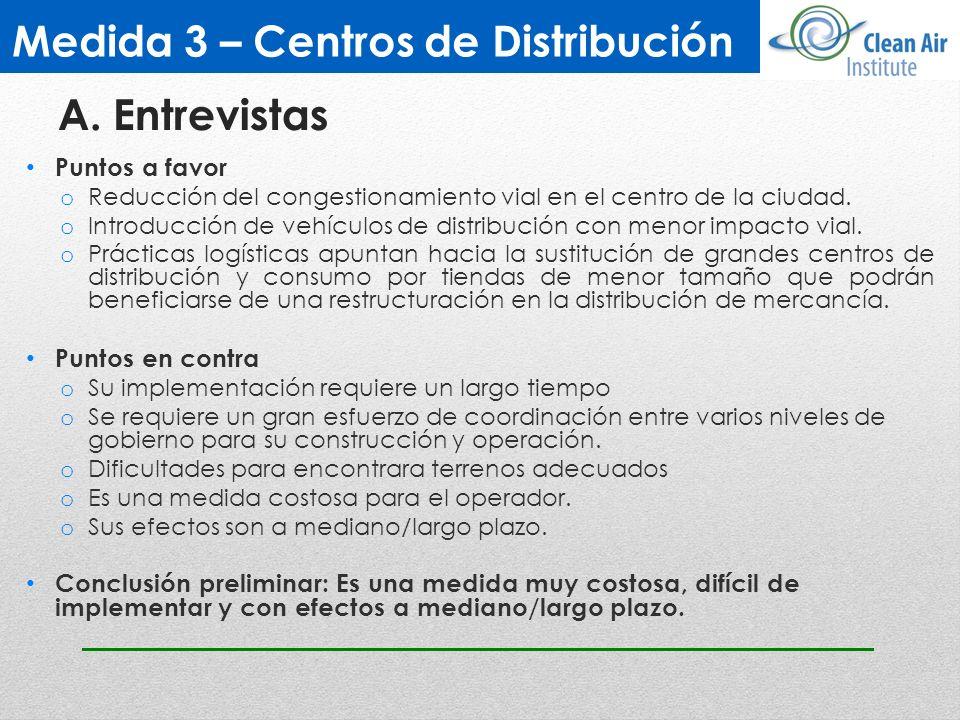 Medida 3 – Centros de Distribución