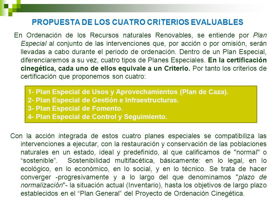PROPUESTA de LOS CUATRO CRITERIOS EVALUABLES