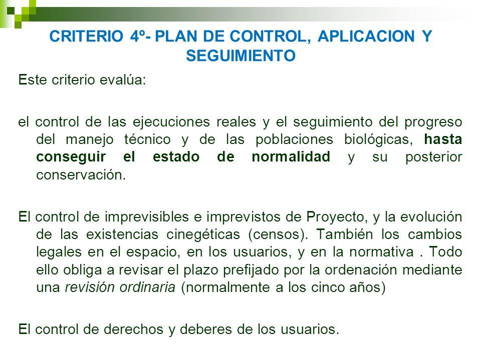 CRITERIO 4º- PLAN DE CONTROL, APLICACION Y SEGUIMIENTO