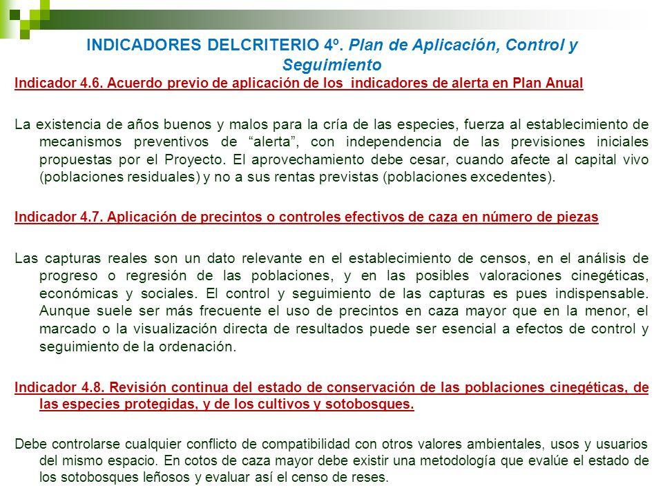 INDICADORES DELCRITERIO 4º. Plan de Aplicación, Control y Seguimiento