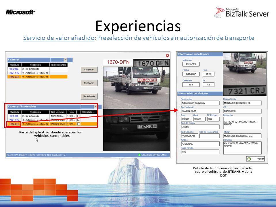 Parte del aplicativo donde aparecen los vehículos sancionables