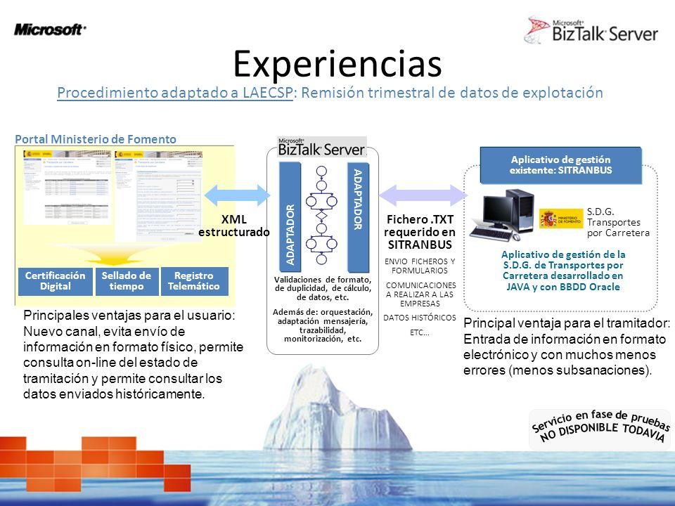 Experiencias Procedimiento adaptado a LAECSP: Remisión trimestral de datos de explotación. Portal Ministerio de Fomento.