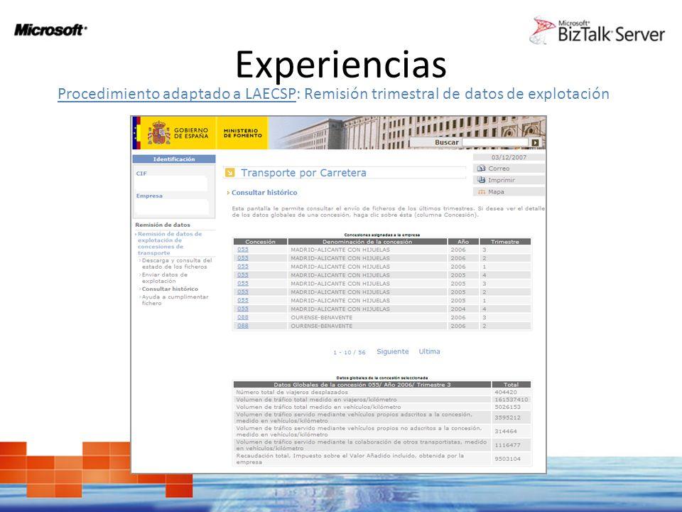 Experiencias Procedimiento adaptado a LAECSP: Remisión trimestral de datos de explotación