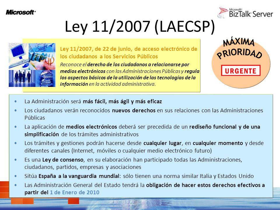 Ley 11/2007 (LAECSP) MÁXIMA. PRIORIDAD. Ley 11/2007, de 22 de junio, de acceso electrónico de los ciudadanos a los Servicios Públicos.