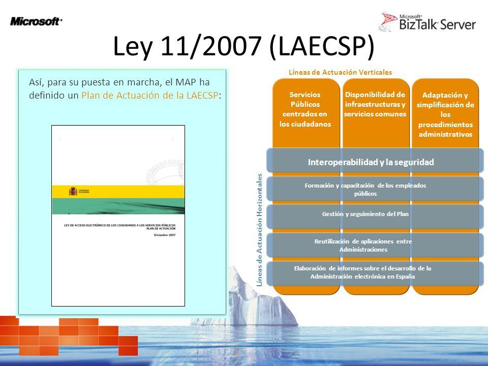 Ley 11/2007 (LAECSP) Así, para su puesta en marcha, el MAP ha definido un Plan de Actuación de la LAECSP: