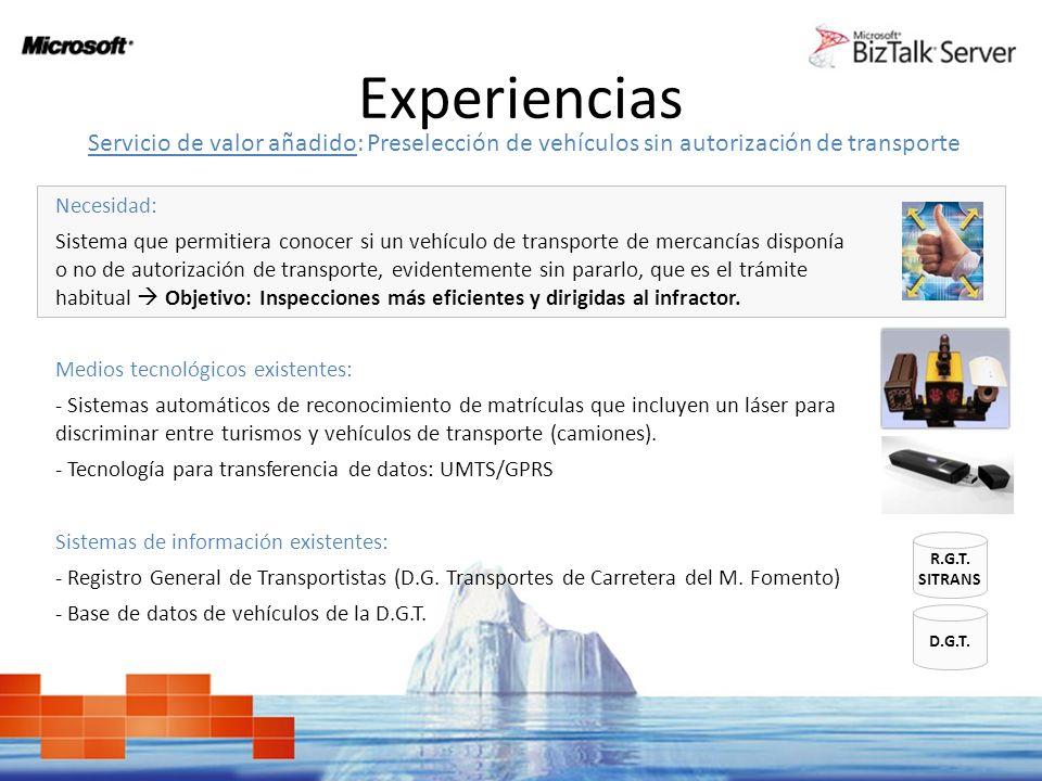 Experiencias Servicio de valor añadido: Preselección de vehículos sin autorización de transporte. Necesidad: