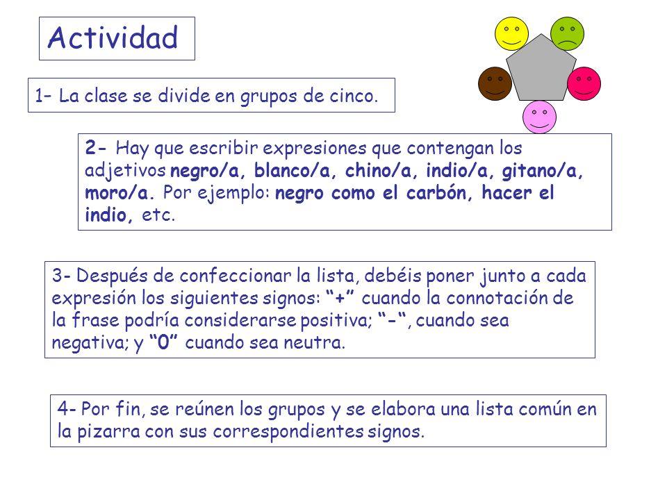 Actividad 1- La clase se divide en grupos de cinco.
