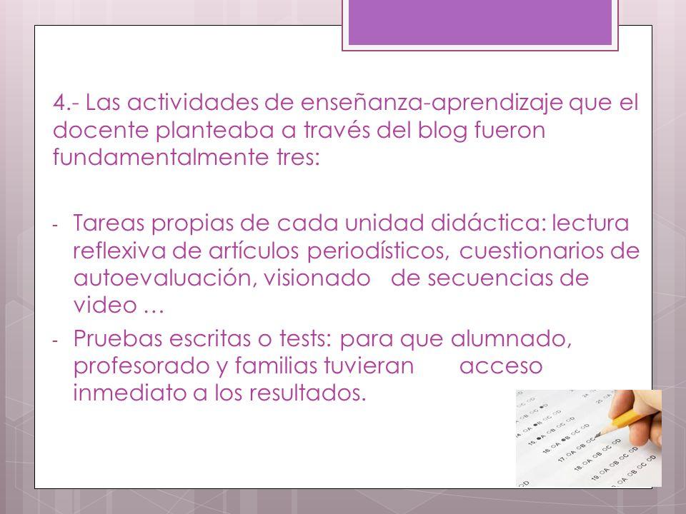 4.- Las actividades de enseñanza-aprendizaje que el docente planteaba a través del blog fueron fundamentalmente tres: