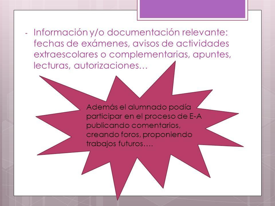Información y/o documentación relevante: fechas de exámenes, avisos de actividades extraescolares o complementarias, apuntes, lecturas, autorizaciones…