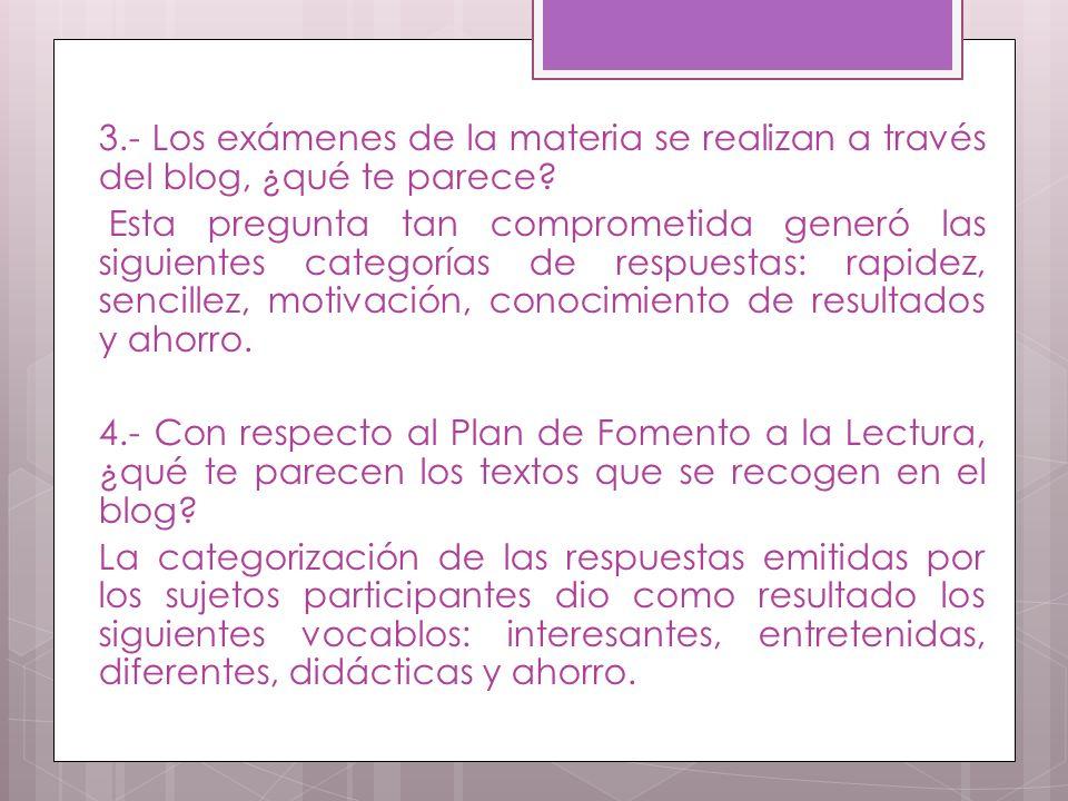3.- Los exámenes de la materia se realizan a través del blog, ¿qué te parece.