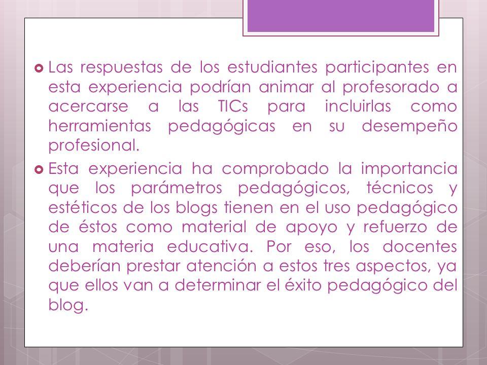 Las respuestas de los estudiantes participantes en esta experiencia podrían animar al profesorado a acercarse a las TICs para incluirlas como herramientas pedagógicas en su desempeño profesional.