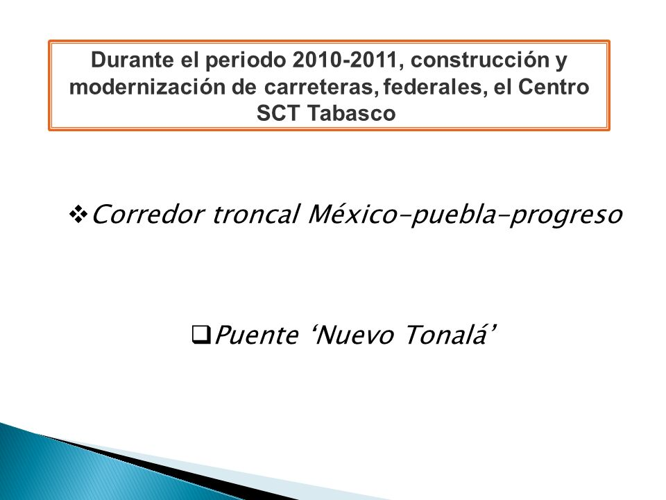 Corredor troncal México-puebla-progreso