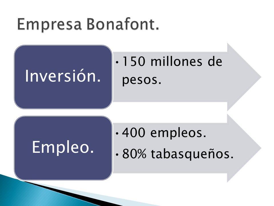 Inversión. Empleo. Empresa Bonafont. 150 millones de pesos.