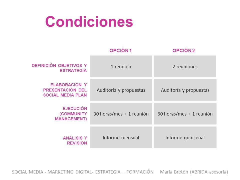 Condiciones 1 reunión 2 reuniones Auditoria y propuestas