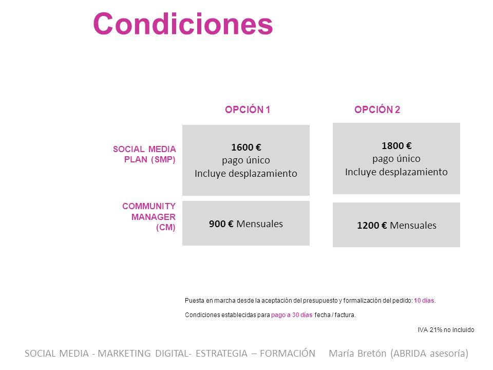 Condiciones 1800 € 1600 € pago único pago único Incluye desplazamiento
