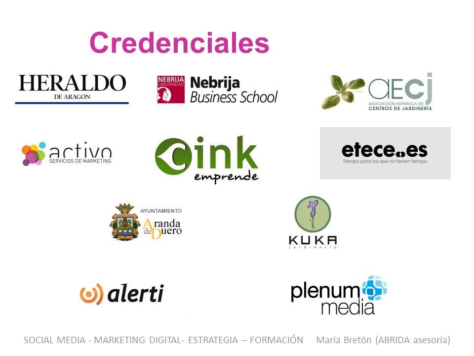 Credenciales SOCIAL MEDIA - MARKETING DIGITAL- ESTRATEGIA – FORMACIÓN María Bretón (ABRIDA asesoría)