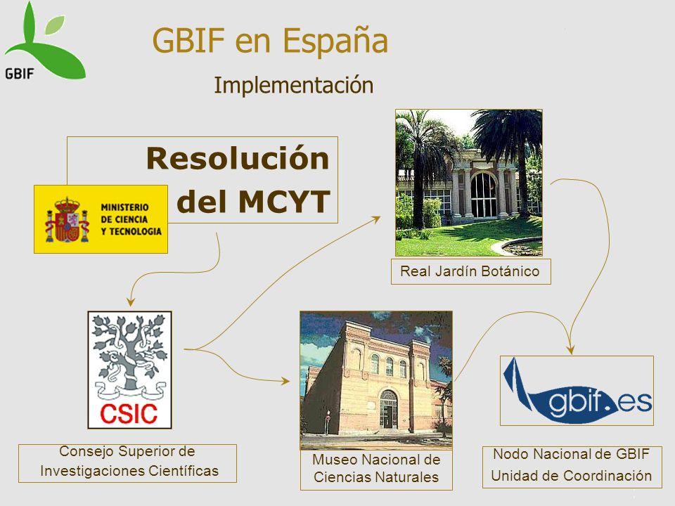 GBIF en España Resolución del MCYT Implementación Real Jardín Botánico