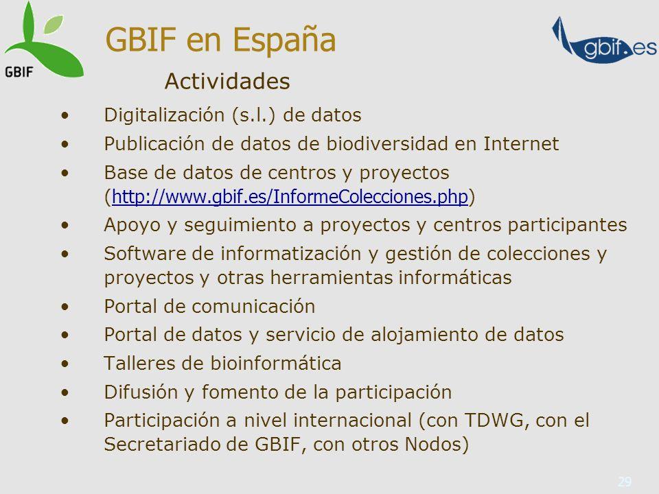 GBIF en España Actividades Digitalización (s.l.) de datos