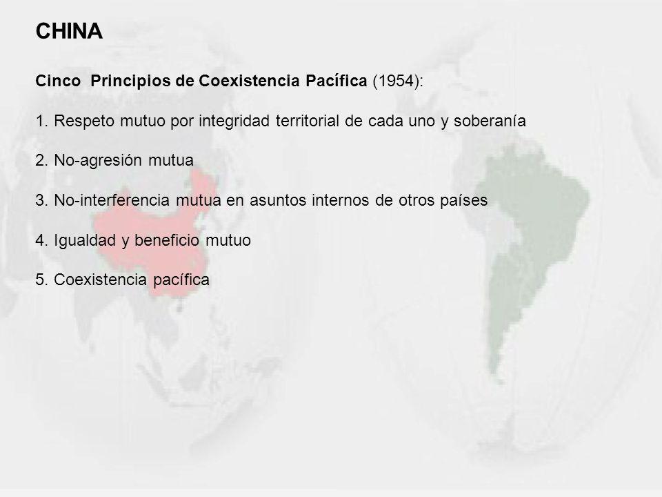CHINA Cinco Principios de Coexistencia Pacífica (1954):