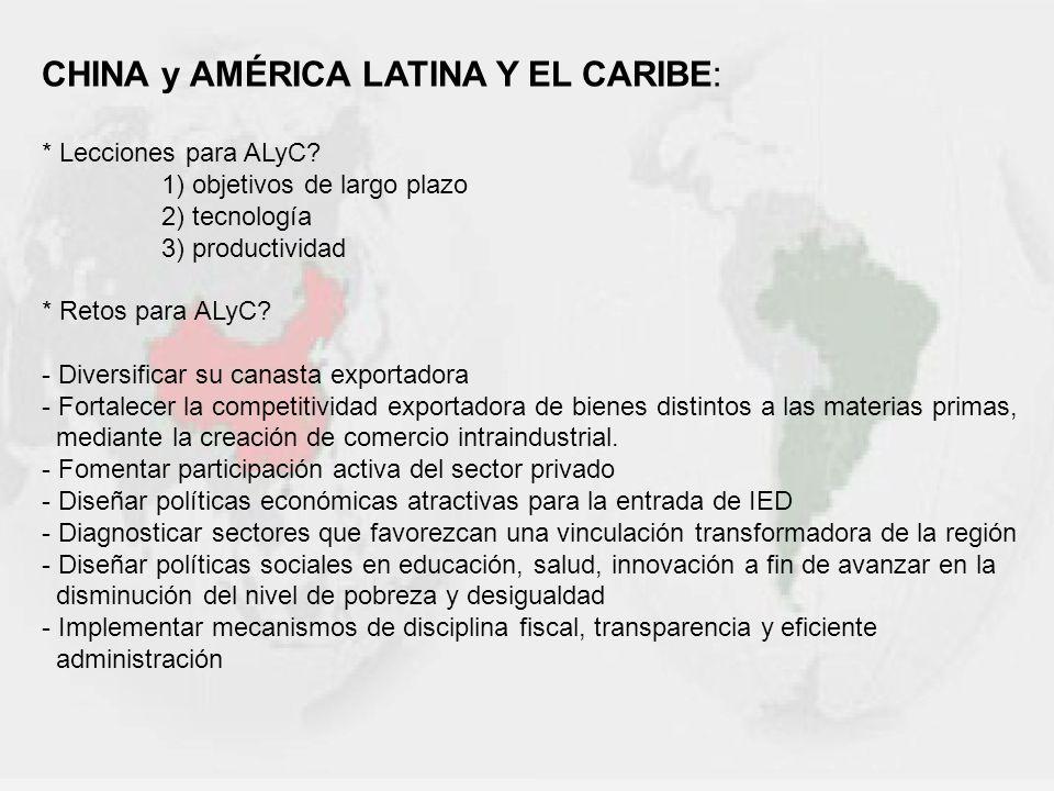 CHINA y AMÉRICA LATINA Y EL CARIBE: