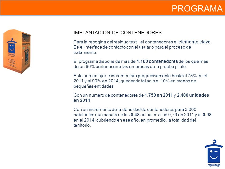 PROGRAMA IMPLANTACION DE CONTENEDORES